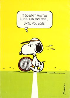 Snoopy Tennis Win Or Lose Schulz 1958 - original vintage poster by Charles M Schulz listed on AntikBar.co.uk