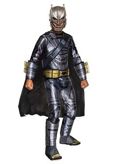 This Deluxe Armored Batman Costume is designed after the battle armor worn by Batman in the Dawn of Justice movie, so your kid will look ready to battle against any super powered threat! #Halloween