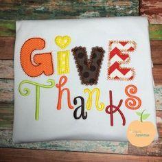 Give Thanks Applique Design
