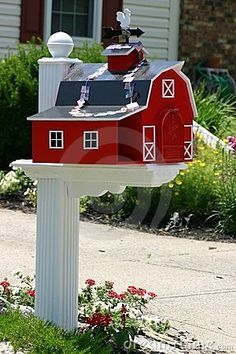 Photo about Red and white festive barn mailbox. Image of close, post, object - 1242775 Mailbox Makeover, Diy Mailbox, Mailbox Ideas, Mailbox Designs, Unique Mailboxes, Painted Mailboxes, Funny Mailboxes, Farmhouse Mailboxes, Wood Projects