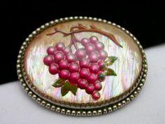 Vintage Czech Reverse Intaglio Glass Grape Brooch Pin #Brooch