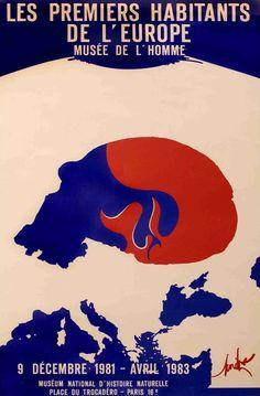 """Affiche de l'exposition """"Les premiers habitants de l'Europe"""" - 1981-1983 © MNHN - Jean-Christophe Domenech _ #Poster #Affiche #GraphicDesign #Vintage #AncientPoster"""