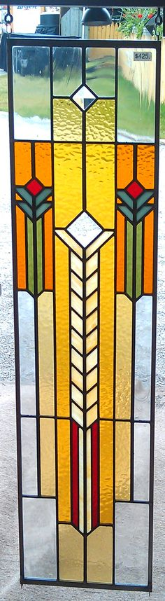 """Sidelight panel made with glass, lead, and zinc.  8""""x32""""  Hangs vertically."""