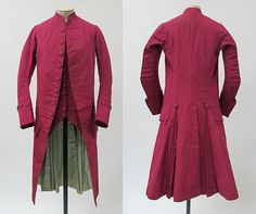 Suit (frock coat, sleeveless waistcoat, and breeches [not shown]), 1770–80, probably British, wool, silk, cotton.