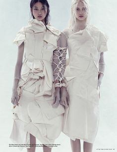 """Bloom where you are planted"". Yue Ning and Nastya Kusakina by Paola Kudacki for i-D Spring 2013"