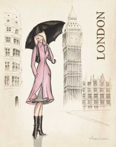 London by Laliberte, Andrea Canvas Wall Art, Wall Art Prints, Poster Prints, London Girls, Fashion Wall Art, Fashion Prints, Fashion Design Sketches, London Art, New York Fashion