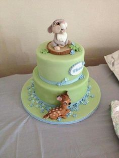 Bambi themed cake...the fondant Thumper and Bambi are amazing