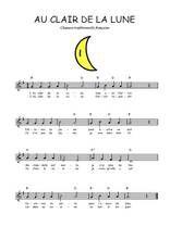 La partition gratuite de Au clair de la Lune