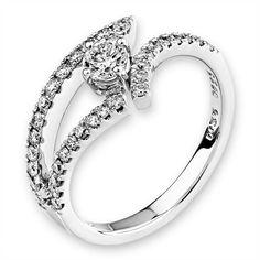 Diamantring, Weißgold 750, Diamanten 0,55 ct