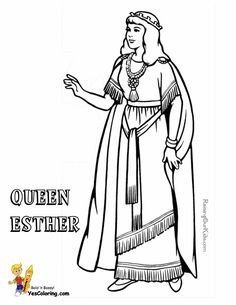 collect these sunday school printables of samson moses abraham peter paul david joshua esther this a queen esther coloring page