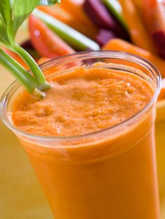 Smoothie for the kids who refuse to eat their veggies. Blend up yogurt, bananas, and sneak in a carrot or spinach leaves for added nutrients.