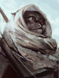Сat warrior Aizel Kon 2016 via /r/Art...