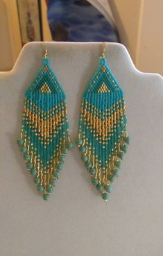 Native American Style Beaded Bright Turquoise and Gold | Etsy
