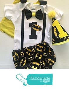 Batman Dark Knight Superhero Boys First Birthday Outfit Cake Smash Outfit with Cape and optional Party Hat from Little Lincoln Baby Boutique https://www.amazon.com/dp/B01MZDDPB5/ref=hnd_sw_r_pi_awdo_HDGJyb8PT58FG #handmadeatamazon