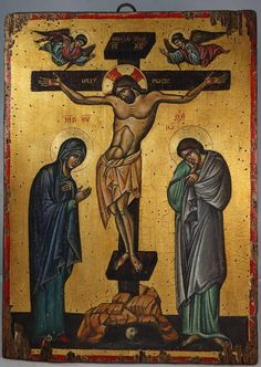 The Crucifixion of Christ - Hand-painted (written) icon available for sale exclusively at www.blessedmart.com