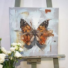 Butterfly oil painting by chloe brown- Butterfly oil painting by chloe brown Butterfly artwork painted in 2018 oil painting 🦋 x premium linen canvas Species: Venessa Cardui – Painted lady butterfly - Simple Oil Painting, Oil Painting Texture, Oil Painting Abstract, Painting Wallpaper, Butterfly Artwork, Butterfly Painting, Oil Painting Flowers, Flower Canvas, Animal Paintings