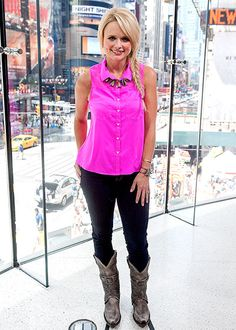 We are loving Miranda Lambert in this hot pink top with a fishtail braid!