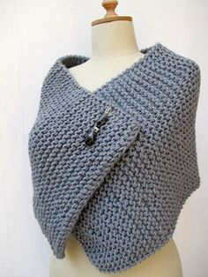 Knitting Capelet, Poncho , Knit, Knitted, Wrap Grey Chunky Sporty Pin Brooch Beaded
