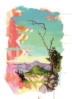Psychedelic Landscape with Tree 9x12 Giclee Print par BeesAndTrees