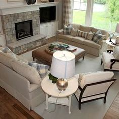 Use similar seating arrangement with sectional and sofa to direct eye to the tv or for formal living room seating!