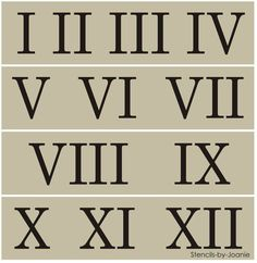 Roman Numeral Stencil Skinny Number Clock Shabby Cottage Vintage Address Home Number Stencils, Free Stencils, Roman Numeral Font, Graffiti Lettering Fonts, Typography, Clock Numbers, Vintage Numbers, Stencil Painting, Painting Templates