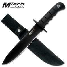 @ShopAndThinkBig.com - Fixed Blade Knife Knife Measures 14 Overall 440 Stainless Steel Black Spear Shaped Blade Made by Mtech USA 8 Blade Hard Rubber Grip Handle With Finger Contour Includes Nylon Sheath http://www.shopandthinkbig.com/8-fixed-blade-knife-by-mtech-usa-mtech-p-1136.html