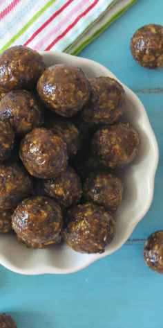 Chewy Cornflake Balls - A chewy, crunchy, healthy, no bake cookie made with raisins, almond butter and cornflakes.