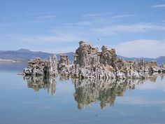 Mono Lake, pictured above with tufa towers exposed, is in California, just west of Yosemite National Park and near the southwest border of Nevada --  by the_lazy_daisy, via Flickr