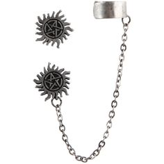 Hot Topic Supernatural Anti-Possession Symbol Cuff Earrings ($6.50) ❤ liked on Polyvore featuring jewelry, earrings, multi, chain earrings, chains jewelry, stud earrings, cuff jewelry and chain cuff earrings