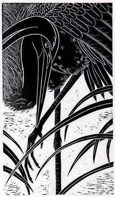 heron waiting - hand-pulled relief print - Dona Reed