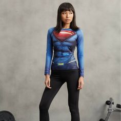 DC Superman Costume 3D Printed Compression Long Sleeves Gym T-shirt  #DC #Superman #Costume #3D #Printed #Compression #Long #Sleeves #Gym #T-shirt