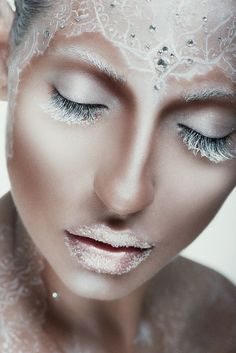 Fantasy Makeup - I call this ice queen Make Up Looks, Makeup Fx, Hair Makeup, Ice Makeup, Frozen Makeup, Fantasy Make Up, Fantasy Hair, Extreme Makeup, Beauty Make-up