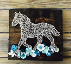 Horse String Art, Horse with Flowers, Wood Sign, Custom Wall Art, Horse Silhouette, Rustic Decor, FAST SHIPPING