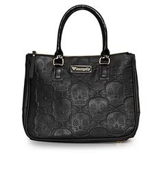 Loungefly Black/Gold Skull Embossed Double Handle Bag