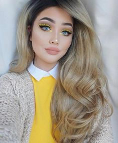 """Long Middle Part Ombre Wavy LACE FRONT WIG Synthetic 20"""" Makeup Tips For Blue Eyes, Yellow Makeup, Yellow Eyeshadow, Love Makeup, Hair Makeup, Prom Makeup, Yellow Lipstick, Eyeliner Makeup, Nude Lipstick"""