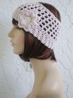 4b5b0fc7d93 hand crochet Headband half hat single yarn dusty pink by annmag  (Accessories