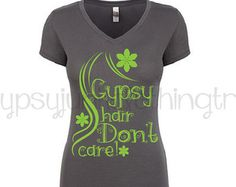 Gypsy TShirt -  Gypsy Hair Don't Care - Gray V Neck Shirt - Boho Shirt - Beautician Shirt - Gifts for Her - Graphic T Shirt - Hair Shirt