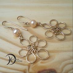 Gold flower wire art earrings, Real pearl earrings, Hammered wire flower earrings, Hippie earrings, Classic earrings, Dangle earrings, by Helenadesignsart on Etsy