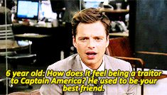 Sebastian Stan reacts to a little girl's question about his role as Bucky Barnes in Captain America: the Winter Solder. This is so cute!!