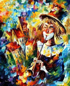 palette knife painting clown   CITY CLOWN — PALETTE KNIFE Oil Painting On Canvas By Leonid Afremov ...
