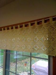 Crocheted Valance -Diamonds & Flowers