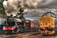 """""""The Age of Steam"""" Steam Locomotive making a recent guest appearance at the Barrow Hill Roundhouse near Chesterfield in Derbsyhire. HDR photo by Simon Bull Barrow Hill, Bull Images, Old Steam Train, Old Trains, Vintage Trains, Rail Transport, Steam Railway, Train Art, Train Tracks"""