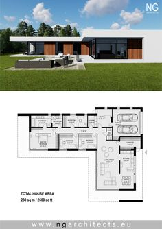 modern villa Laguna designed by NG architects www. House Layout Plans, Dream House Plans, Modern House Plans, House Layouts, Modern House Design, House Floor Plans, Staircase Contemporary, Contemporary Bedroom, Contemporary Cottage