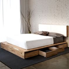 This understated platform bed is designed low to the ground with the bare minimum of components. Pair it with the Storage Headboard to get the complete LAX series look.