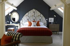 Burnt Orange and Navy Blue Bedroom | #Orange | #NavyBlue | Cotswold Inns Hotel