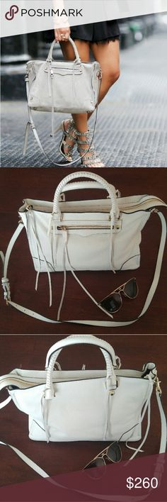 "White Rebecca Minkoff satchel Meet this seasons must have satchel featuring luxe details and seventies vibes. Simple studs artfully woven fringe and a cool front zipper take this bag to the next level while spacious design stores daily essentials. This well crafted bag is complete with a stylish top handle and optional shoulder strap. No trades. 14.25""W x 9"" H x 3.25"" D Rebecca Minkoff Bags Satchels"