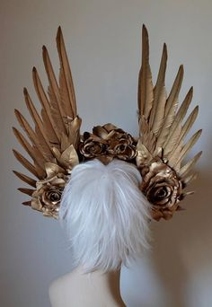 Gold Wings & Roses Headdress Made to order: goddess angel Floral Headdress, Fantasy Costumes, Fairy Costumes, Goddess Costume, Fantasy Makeup, Fantasy Hair, Gold Feathers, Bridal Crown, Gold Paint