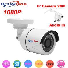 HD 1080P IP camera mini bracket Camera outdoor waterproof audio Night Vision Security CCTV Camera webcam. Click visit to buy