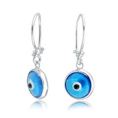 925 Silver Evil Eye Blue Dangle Earrings >>> Check this awesome product by going to the link at the image.-It is an affiliate link to Amazon. #WeddingEarrings