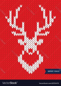 Deer head knitted pattern on red background Vector Image , Kids Knitting Patterns, Christmas Knitting Patterns, Knitting Charts, Loom Knitting, Knitting Stitches, Crochet Patterns, Beading Patterns, Cross Stitch Animals, Cross Stitch Kits